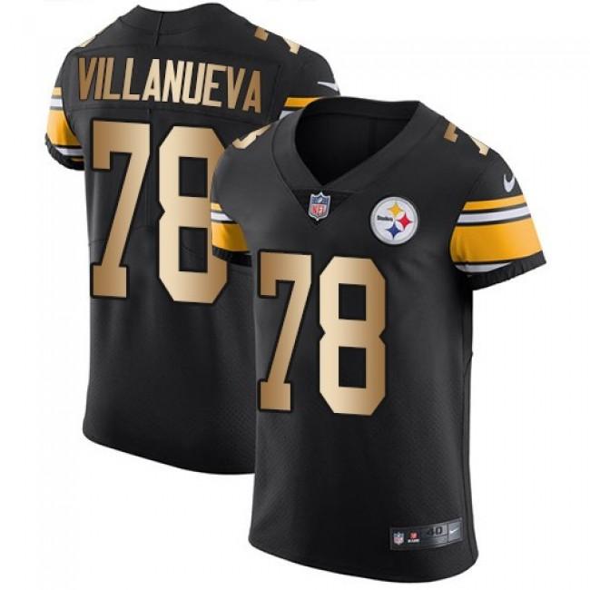 Nike Steelers #78 Alejandro Villanueva Black Team Color Men's Stitched NFL Elite Gold Jersey