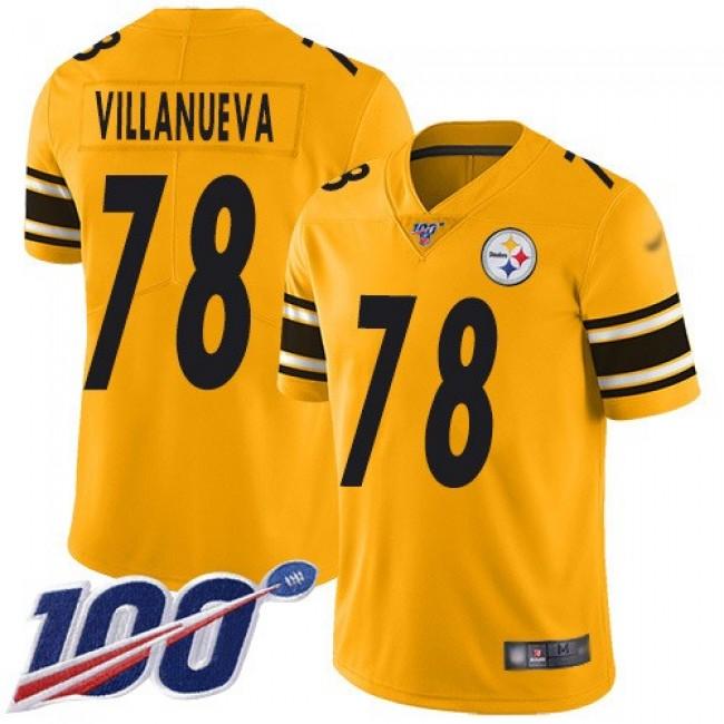 Nike Steelers #78 Alejandro Villanueva Gold Men's Stitched NFL Limited Inverted Legend 100th Season Jersey