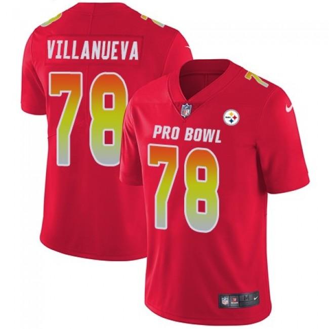 Women's Steelers #78 Alejandro Villanueva Red Stitched NFL Limited AFC 2018 Pro Bowl Jersey