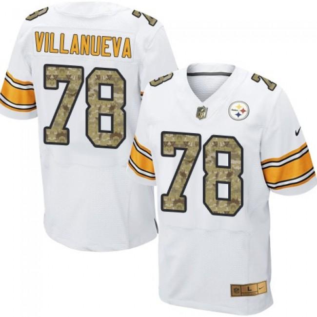 Nike Steelers #78 Alejandro Villanueva White/Camo Men's Stitched NFL Elite Jersey