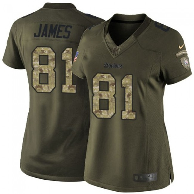 Women's Steelers #81 Jesse James Green Stitched NFL Limited 2015 Salute to Service Jersey