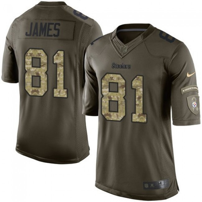 Pittsburgh Steelers #81 Jesse James Green Youth Stitched NFL Limited 2015 Salute to Service Jersey