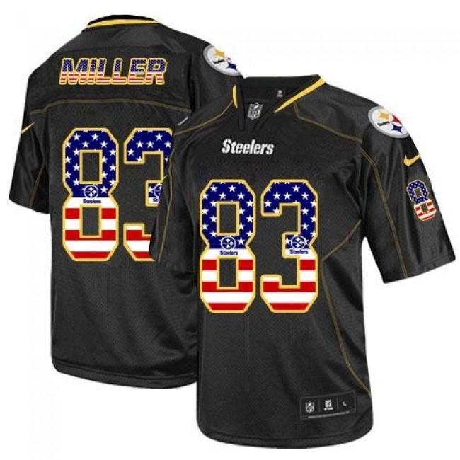 Nike Steelers #83 Heath Miller Black Men's Stitched NFL Elite USA Flag Fashion Jersey