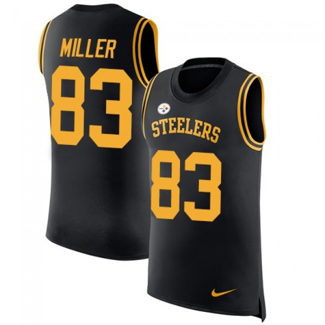 Nike Steelers #83 Heath Miller Black Team Color Men's Stitched NFL Limited Rush Tank Top Jersey