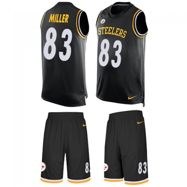 Nike Steelers #83 Heath Miller Black Team Color Men's Stitched NFL Limited Tank Top Suit Jersey