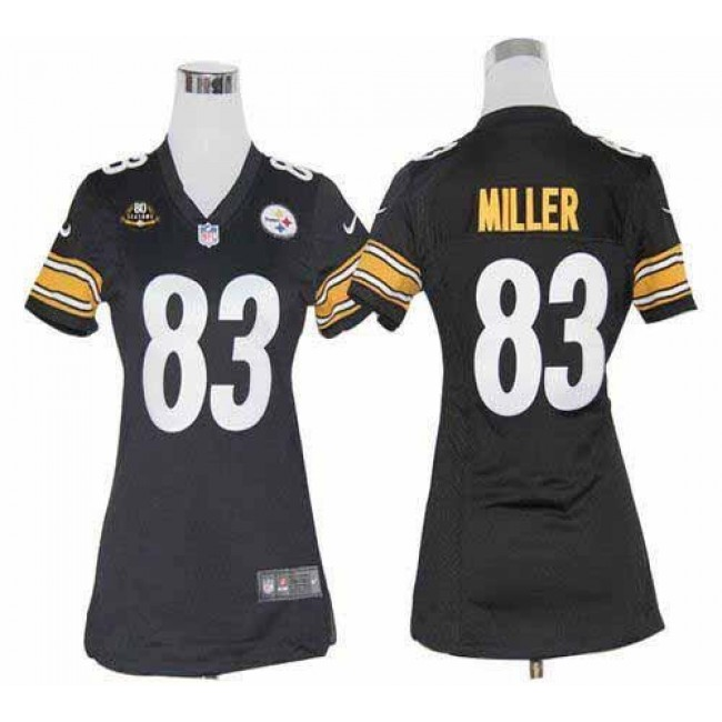 Women's Steelers #83 Heath Miller Black Team Color With 80TH Patch Stitched NFL Elite Jersey
