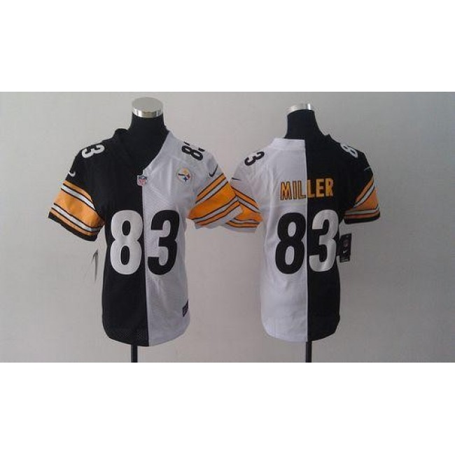 Women's Steelers #83 Heath Miller Black White Stitched NFL Elite Split Jersey