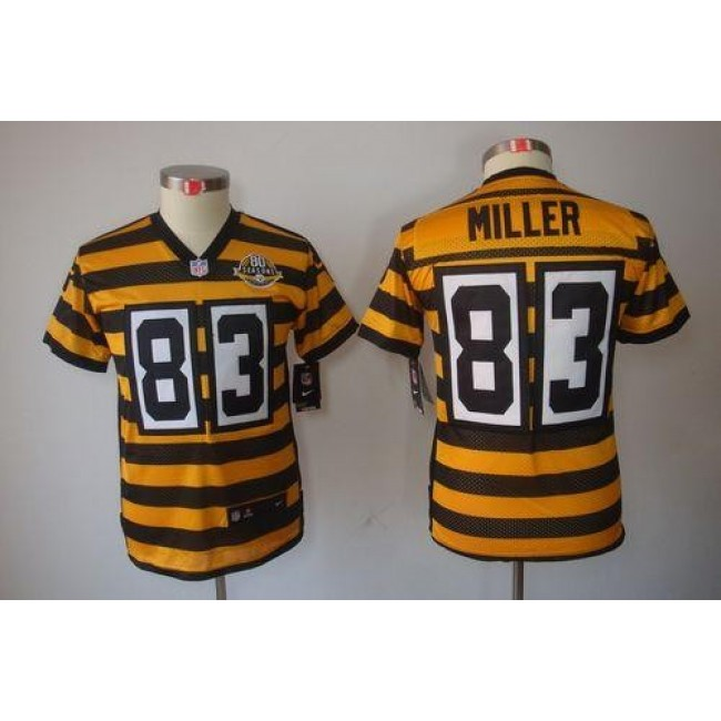 Pittsburgh Steelers #83 Heath Miller Black-Yellow Alternate Youth Stitched NFL Limited Jersey