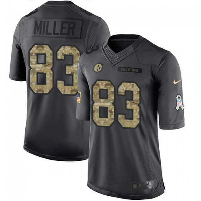 Pittsburgh Steelers #83 Heath Miller Black Youth Stitched NFL Limited 2016 Salute to Service Jersey