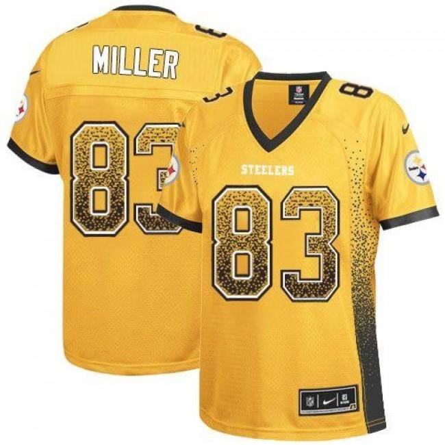 Women's Steelers #83 Heath Miller Gold Stitched NFL Elite Drift Jersey