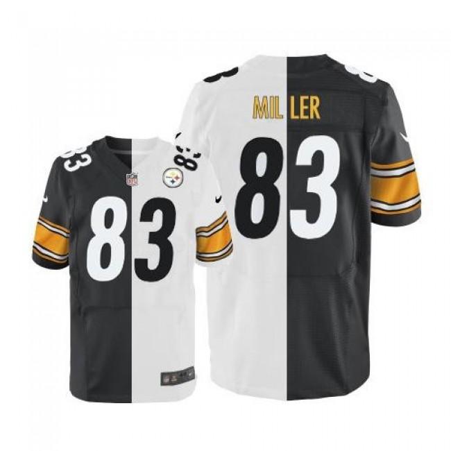 Nike Steelers #83 Heath Miller White/Black Men's Stitched NFL Elite Split Jersey