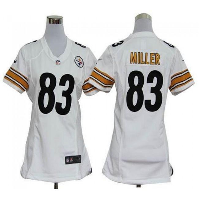 Women's Steelers #83 Heath Miller White Stitched NFL Elite Jersey