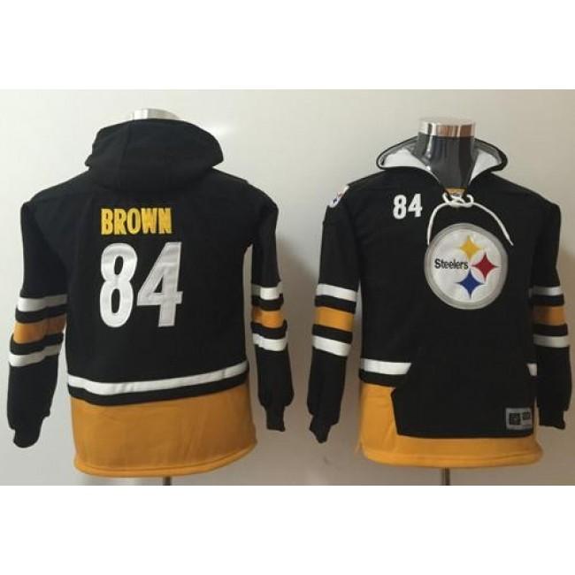 Pittsburgh Steelers #84 Antonio Brown Black-Gold Youth Name Number Pullover NFL Hoodie Jersey