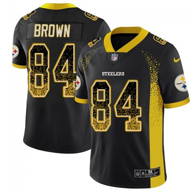 Nike Steelers #84 Antonio Brown Black Team Color Men's Stitched NFL Limited Rush Drift Fashion Jersey