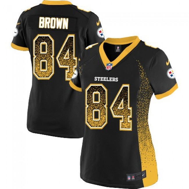 Women's Steelers #84 Antonio Brown Black Team Color Stitched NFL Elite Drift Jersey