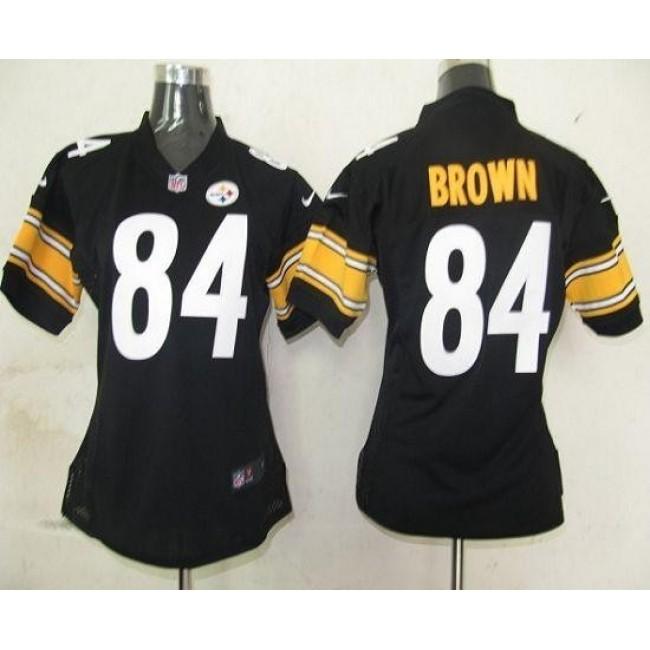 Women's Steelers #84 Antonio Brown Black Team Color Stitched NFL Elite Jersey