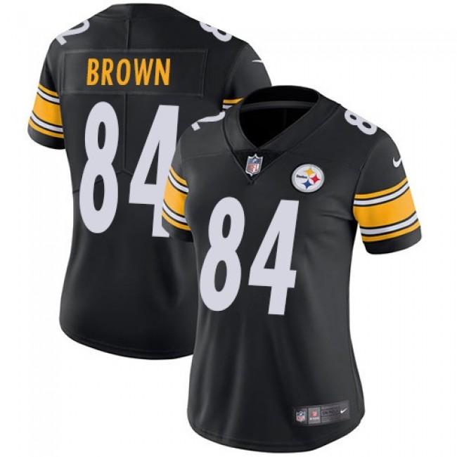 Women's Steelers #84 Antonio Brown Black Team Color Stitched NFL Vapor Untouchable Limited Jersey