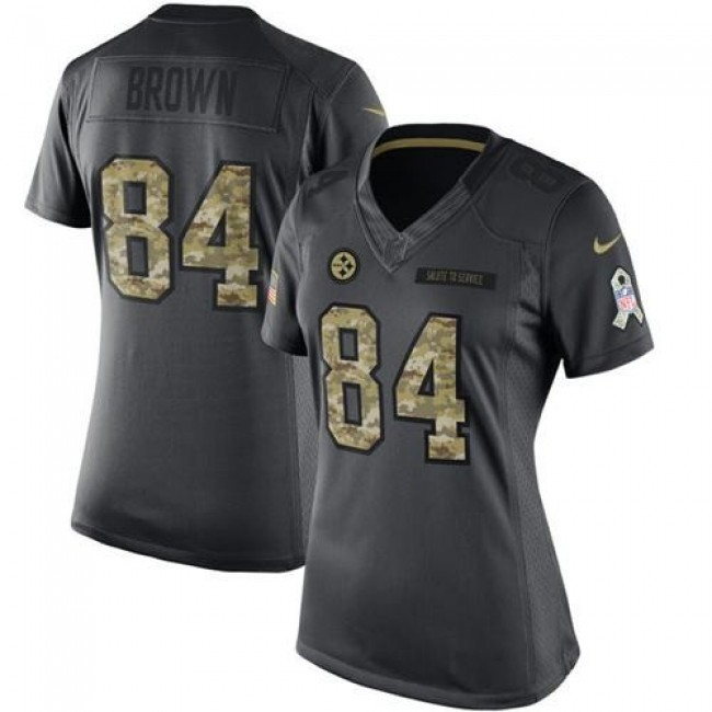 Women's Steelers #84 Antonio Brown Black Stitched NFL Limited 2016 Salute to Service Jersey