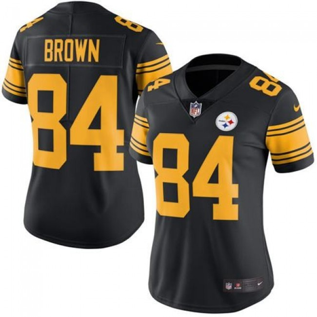 Women's Steelers #84 Antonio Brown Black Stitched NFL Limited Rush Jersey
