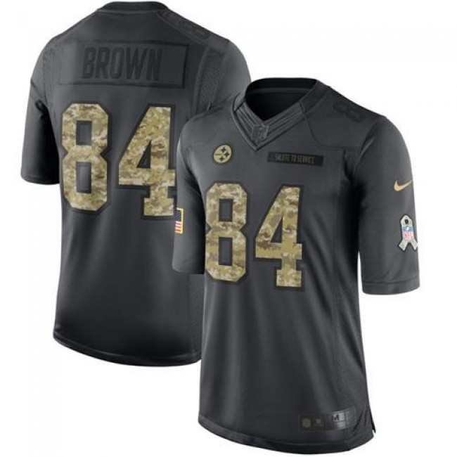 Pittsburgh Steelers #84 Antonio Brown Black Youth Stitched NFL Limited 2016 Salute to Service Jersey