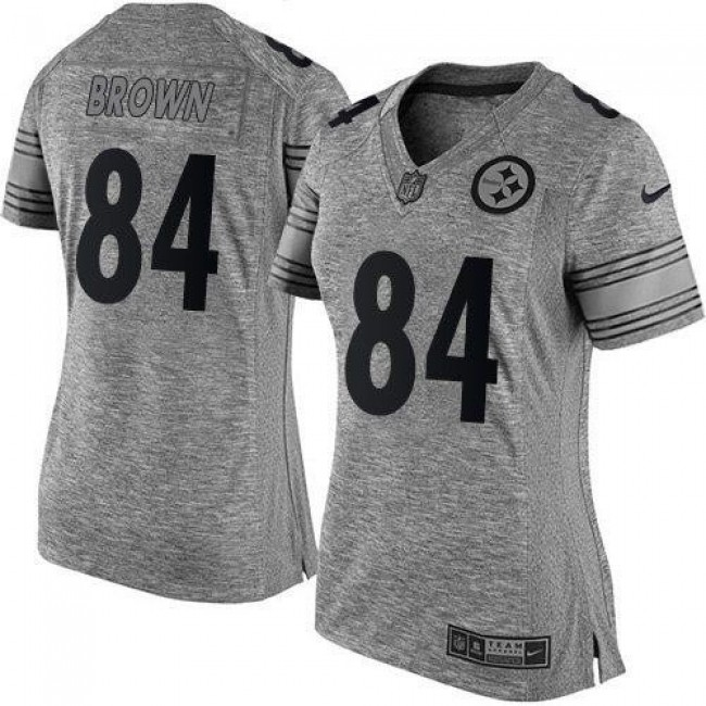 Women's Steelers #84 Antonio Brown Gray Stitched NFL Limited Gridiron Gray Jersey