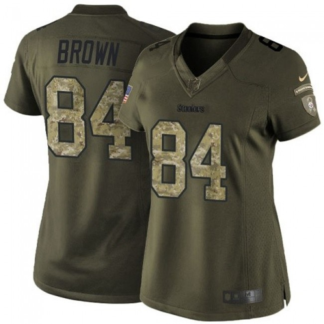 Women's Steelers #84 Antonio Brown Green Stitched NFL Limited 2015 Salute to Service Jersey