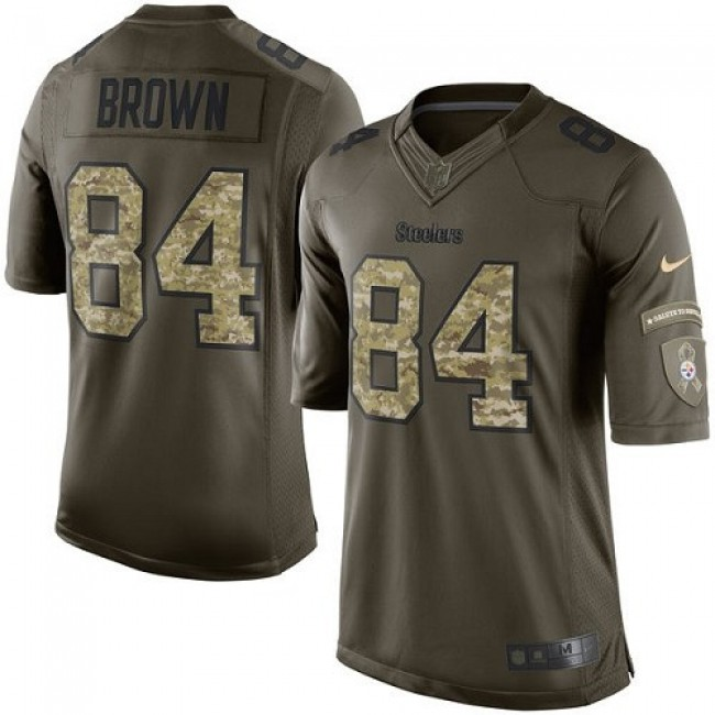 Pittsburgh Steelers #84 Antonio Brown Green Youth Stitched NFL Limited 2015 Salute to Service Jersey