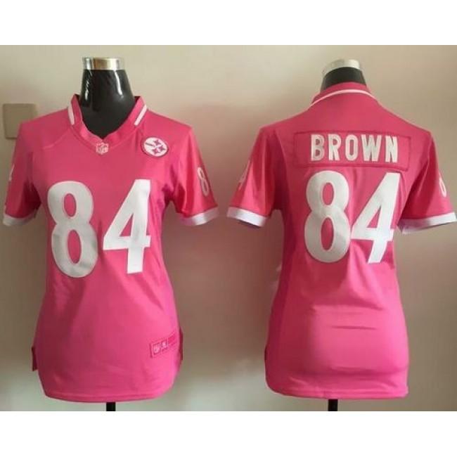 Women's Steelers #84 Antonio Brown Pink Stitched NFL Elite Bubble Gum Jersey