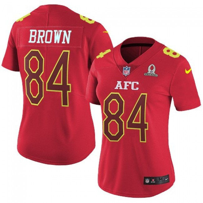 Women's Steelers #84 Antonio Brown Red Stitched NFL Limited AFC 2017 Pro Bowl Jersey