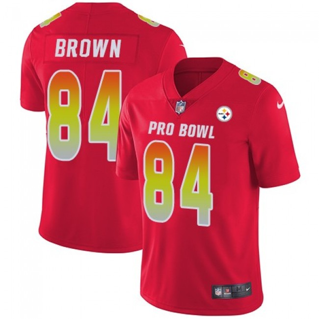 Women's Steelers #84 Antonio Brown Red Stitched NFL Limited AFC 2018 Pro Bowl Jersey