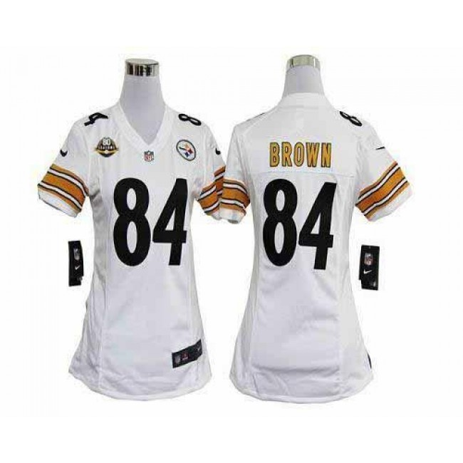 Women's Steelers #84 Antonio Brown White With 80TH Patch Stitched NFL Elite Jersey