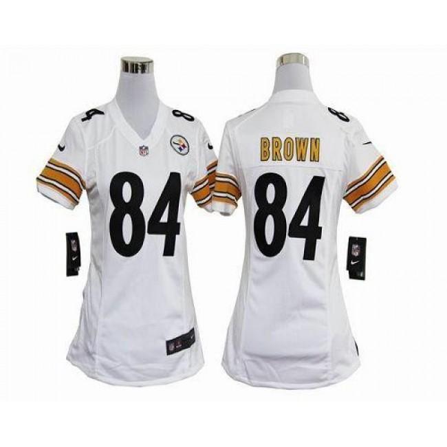 Women's Steelers #84 Antonio Brown White Stitched NFL Elite Jersey