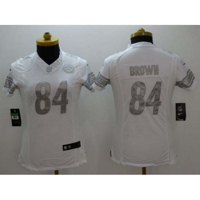 Women's Steelers #84 Antonio Brown White Stitched NFL Limited Platinum Jersey