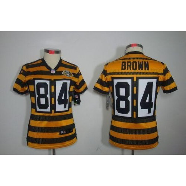 Women's Steelers #84 Antonio Brown Yellow Black Alternate Stitched NFL Limited Jersey