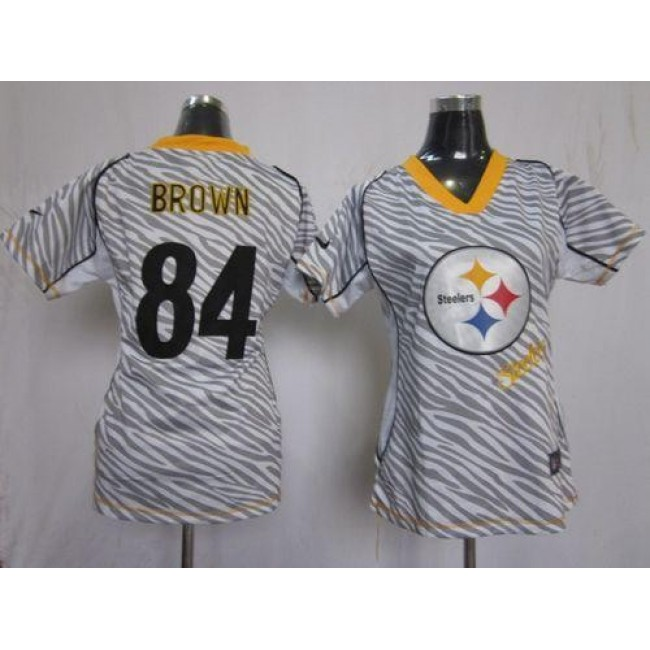 Women's Steelers #84 Antonio Brown Zebra Stitched NFL Elite Jersey