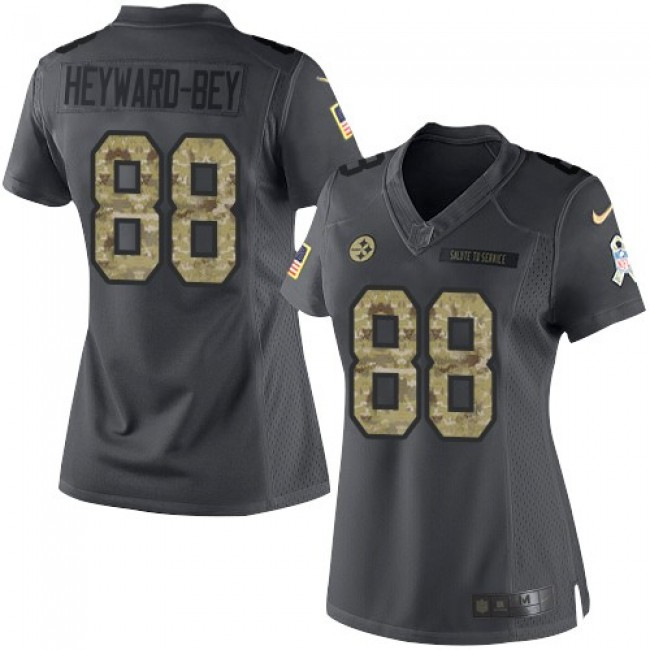 Women's Steelers #88 Darrius Heyward-Bey Black Stitched NFL Limited 2016 Salute to Service Jersey