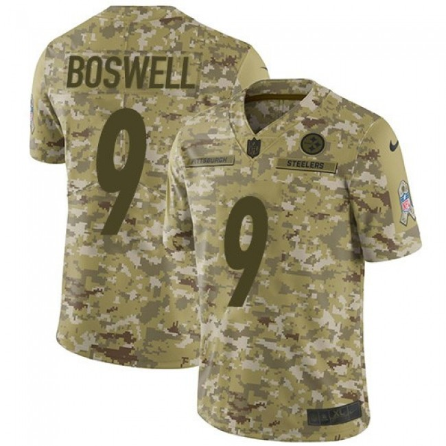 Nike Steelers #9 Chris Boswell Camo Men's Stitched NFL Limited 2018 Salute To Service Jersey