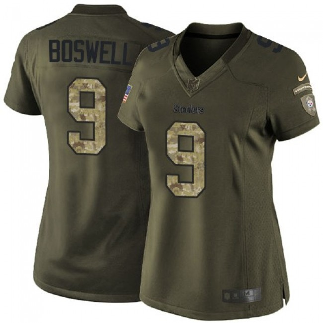 Women's Steelers #9 Chris Boswell Green Stitched NFL Limited 2015 Salute to Service Jersey