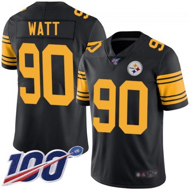 Nike Steelers #90 T. J. Watt Black Men's Stitched NFL Limited Rush 100th Season Jersey