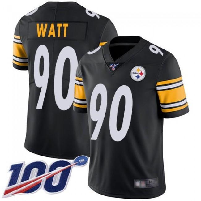 Nike Steelers #90 T. J. Watt Black Team Color Men's Stitched NFL 100th Season Vapor Limited Jersey