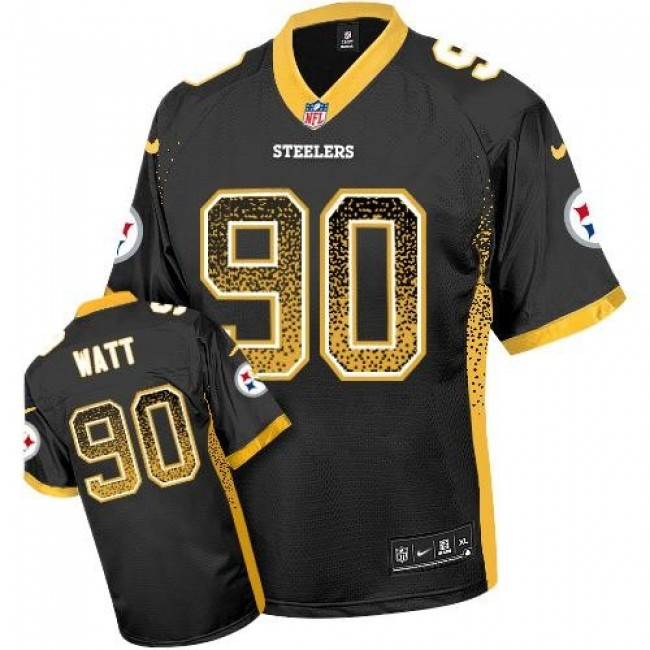 Nike Steelers #90 T. J. Watt Black Team Color Men's Stitched NFL Elite Drift Fashion Jersey