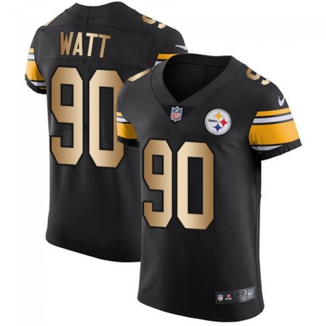 Nike Steelers #90 T. J. Watt Black Team Color Men's Stitched NFL Elite Gold Jersey