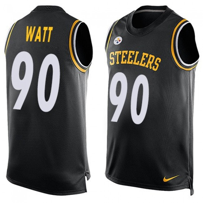 Nike Steelers #90 T. J. Watt Black Team Color Men's Stitched NFL Limited Tank Top Jersey