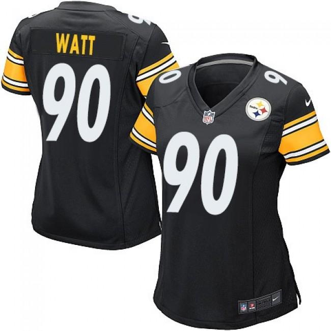 Women's Steelers #90 T. J. Watt Black Team Color Stitched NFL Elite Jersey