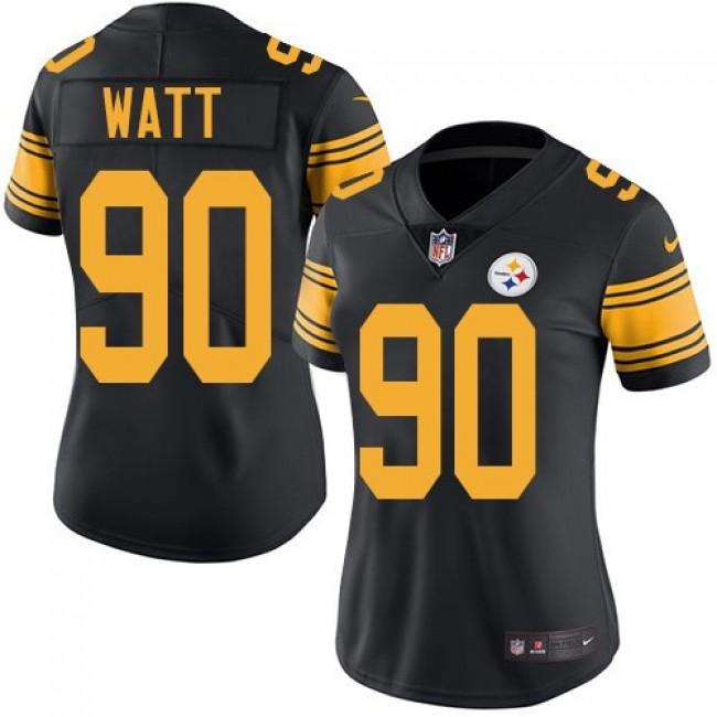 Women's Steelers #90 T. J. Watt Black Stitched NFL Limited Rush Jersey