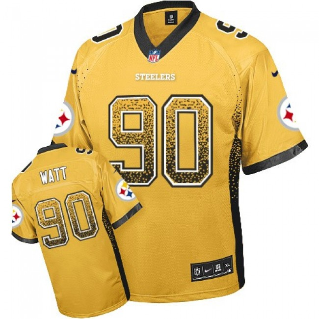 Nike Steelers #90 T. J. Watt Gold Men's Stitched NFL Elite Drift Fashion Jersey