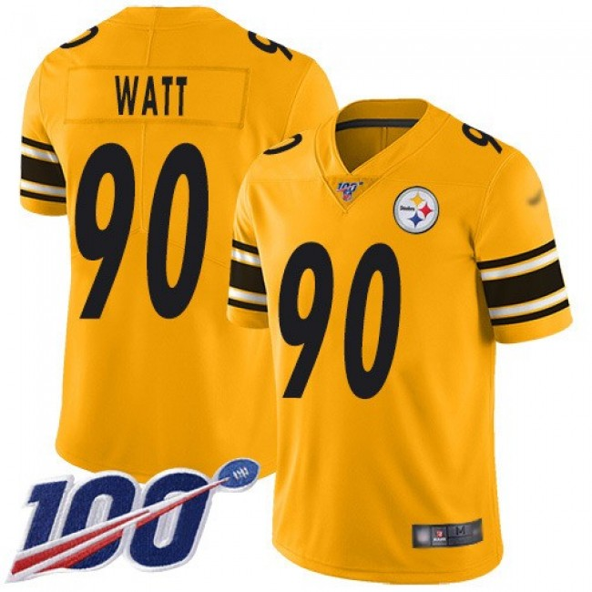 Nike Steelers #90 T. J. Watt Gold Men's Stitched NFL Limited Inverted Legend 100th Season Jersey