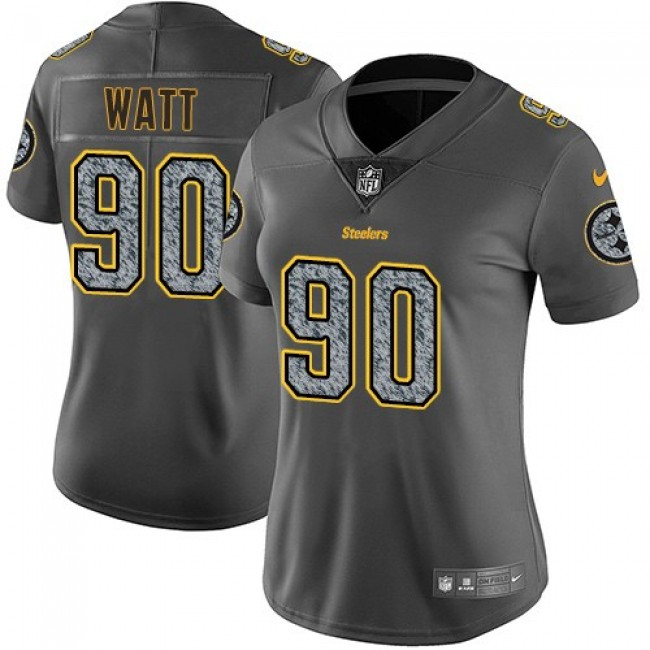 Women's Steelers #90 T. J. Watt Gray Static Stitched NFL Vapor Untouchable Limited Jersey