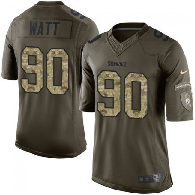 Pittsburgh Steelers #90 T. J. Watt Green Youth Stitched NFL Limited 2015 Salute to Service Jersey