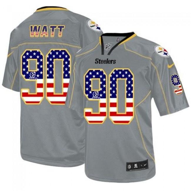 Nike Steelers #90 T. J. Watt Grey Men's Stitched NFL Elite USA Flag Fashion Jersey